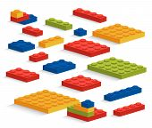 Set Of Plastic Lego Pieces Or Constructor poster
