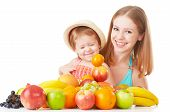 picture of healthy eating girl  - happy family mother and daughter little girl eat healthy vegetarian food lots of fruit isolated - JPG