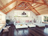 picture of attic  - beautiful modern attic interior - JPG