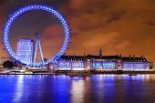foto of london night  - London Cityscape with London Eye  at Night - JPG