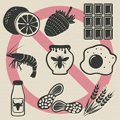 pic of allergy  - allergy food icons set  - JPG
