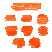 picture of marker pen  - Orange marker pen spots and lines for your design - JPG