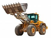 Yellow bulldozer isolated on white
