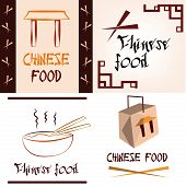 picture of chinese menu  - a set of colored backgrounds with text and different chinese menu icons - JPG