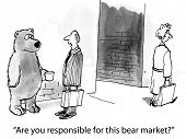 foto of bear  - The investor asks the bear if it is responsible for the bear market - JPG