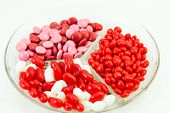 image of valentine candy  - Assorted Valentine candies of red and white jelly beans - JPG