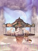 image of carousel horse  - carousel in the sky with horses and floating island art and illustration - JPG