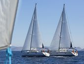pic of yachts  - Sailing ship yachts during regatta in the Mediterranean Sea - JPG