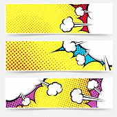 stock photo of sketch book  - Pop art comic book yellow header collection  - JPG