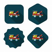 pic of wreckers  - Transportation Tow Truck Flat Icon With Long Shadow - JPG