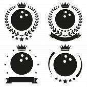 pic of bowling ball  - Set of Vintage Bowling Club Badge and Label with ball - JPG
