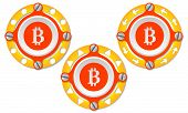 image of bit coin  - Set of three icons with perforated ring and bit coin symbol - JPG