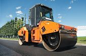 stock photo of heavy equipment  - Heavy Vibration roller at asphalt pavement works  - JPG
