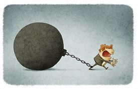image of ball chain  - illustration of Businessman chained to a large ball - JPG