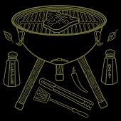 stock photo of barbecue grill  - Vector illustration of the grill and barbecue beef pork and chicken grilled image ovens barbecue tools and vegetables - JPG