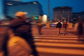 foto of pedestrian crossing  - Center of Vienna Pedestrian crossing at the evening time - JPG