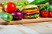 image of hamburger-steak  - homemade hamburger with fresh vegetables close up - JPG