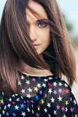 image of chest hair  - portrait of beautiful girl with dark hair with large eyes smart - JPG