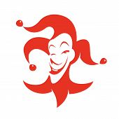 pic of clown face  - Red joker with a sly look and a smile - JPG