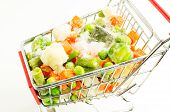 image of snow peas  - Mixture of frozen vegetables carrots peas broccoli green beans Brussels sprouts cauliflower are shopping carts with ice and snow - JPG