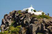 stock photo of greek-island  - Small Greek church on the cliff on the island of Patmos - JPG