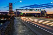foto of portland oregon  - View of Portland Oregon Skyline from the Burnside Bridge - JPG