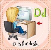 stock photo of letter d  - Flashcard letter D is for desk - JPG