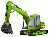 image of shovel  - Closeup green excavator with giant shovel - JPG