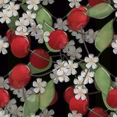 picture of black-cherry  - Seamless background pattern with colorful cherry and bloom on black background glassy effect illustration - JPG