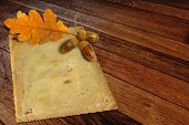 stock photo of acorn  - Old grunge paper with autumn oak leaves and acorns on the wooden background - JPG
