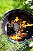 image of charcoal  - Hot burning charcoal grill on fire closeup - JPG