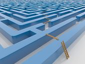 pic of maze  - Infinite maze Labyrinth 3D Render with wooden ladder and planking - JPG