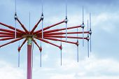 stock photo of antenna  - antenna in private airport on cloudy sky background - JPG