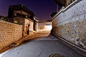 picture of seoul south korea  - Bukchon Hanok historic district in Seoul at night - JPG