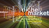 stock photo of niche  - Background concept wordcloud illustration of niche market glowing light - JPG