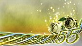 pic of fifties  - birthday concept with white roses and sparks  - JPG