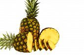 stock photo of wet  - Pineapple isolated on white with pineapple slices wet and juicy - JPG