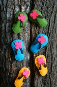 stock photo of personality  - Be yourself a message from abstract idea group of handmade sandals in vibrant color make from fabric be strong confident with your personality an amazing concept - JPG