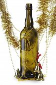 stock photo of christmas party  - Bottle and tinsel on a white background - JPG