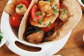 image of tacos  - big mexican taco served with soup - JPG