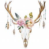 picture of deer head  - Beautiful vector image with watercolor deer head with wildflowers - JPG