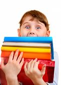 image of girlie  - Surprised Little Girl with the Books Isolated on the White Background - JPG