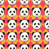 stock photo of panda  - Seamless pattern with cute hand drawn panda - JPG