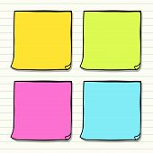 stock photo of memory stick  - Hand drawn classic yellow paper sticker sketched in a doodle style - JPG