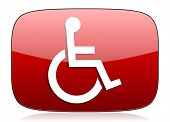 pic of wheelchair  - wheelchair red glossy web icon - JPG