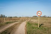foto of restriction  - Forbidden tank sign on a restricted area by the road - JPG