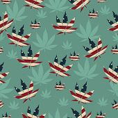foto of marijuana leaf  - Marijuana Leaf with the colors of American flag Marijuana Leaf Pattern Repeat Background that is seamless and repeats - JPG