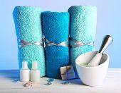 image of crystal salt  - Rolled towels with sea salt - JPG