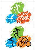 pic of triathlon  - Grunge background with Icons symbolizing triathlon - JPG
