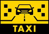 image of cabs  - yelow taxi background with cab on road silhouette - JPG